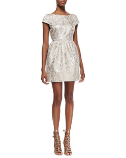 Alice + Olivia Nelly Metallic-Jacquard Short-Sleeve Dress