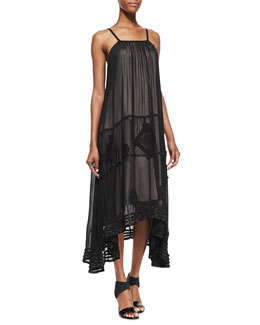 Alice + Olivia Dejas Silk Embroidered Trapeze Maxi Dress