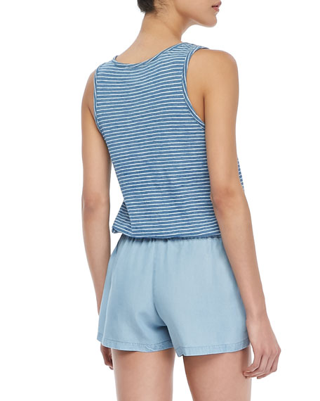 Sleeveless Striped Indigo Romper