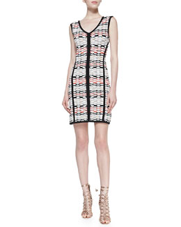 Nanette Lepore Fierce Printed Solid-Trim Knit Sheath Dress