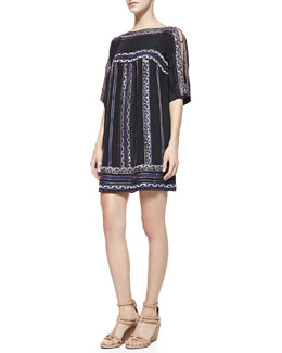 Nanette Lepore Run Wild Silk Boat-Neck Shift Dress
