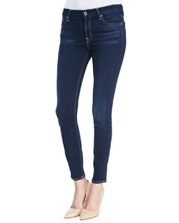 7 For All Mankind Slim Illusion Luxe Night Blue Mid-Rise Ankle Skinny Jeans