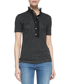Tory Burch Brigitte Cotton Short-Sleeve Polo
