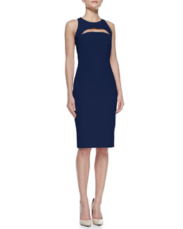 Milly Cutout Slim Scoop-Neck Dress