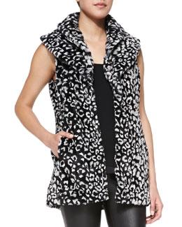 Alice + Olivia Kelsi Leopard-Print Faux-Fur Long Vest