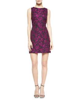 Alice + Olivia Eli Floral-Jacquard Sleeveless Dress
