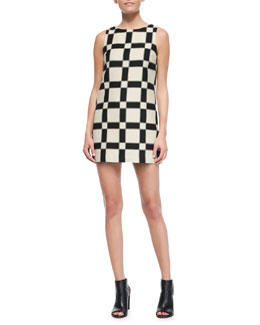 Alice + Olivia Dot Magnified-Check Shift Dress