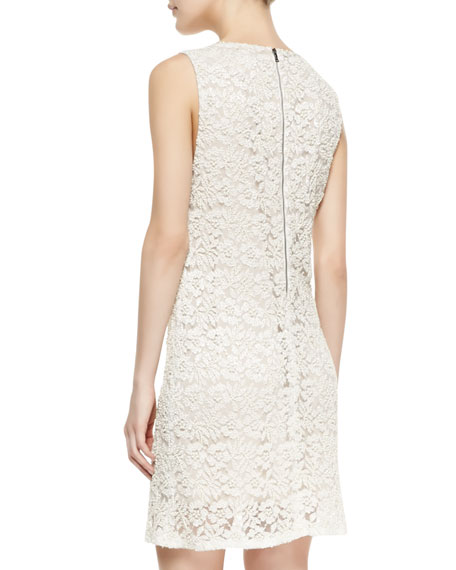 Dot Embellished Lace Shift Dress