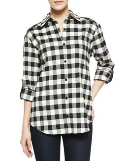 Alice + Olivia Piper Check Button-Down Shirt with Leather Tabs