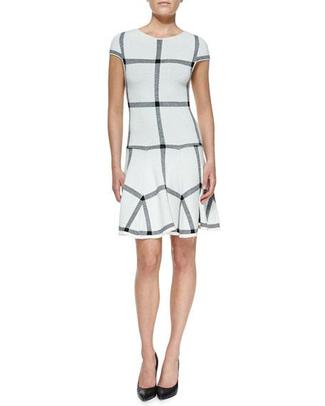 Selma Checkered-Knit Dropped-Waist Dress
