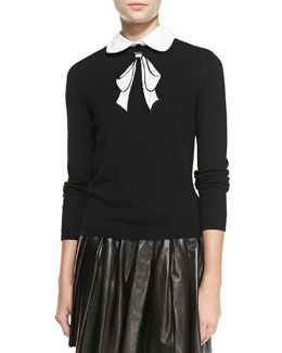 Alice + Olivia Ribbon-Graphic Knit Sweater