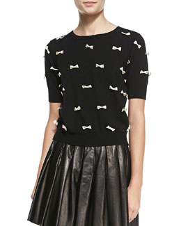 Alice + Olivia Knit Short-Sleeve Bow Sweater