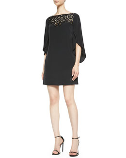 Milly Kiera Butterfly-Sleeve  Dress