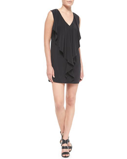 Milly Cascade Matte-Silk Drape Sheath Dress