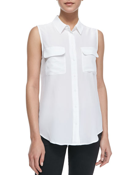 Slim Signature Sleeveless Blouse, Bright White