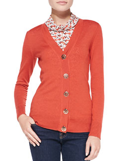 Tory Burch Simone Signature Knit Cardigan, Jasper