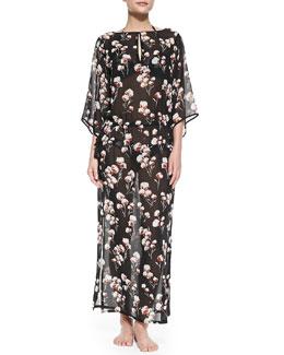 Tory Burch Solaro Floral-Print Silk Caftan