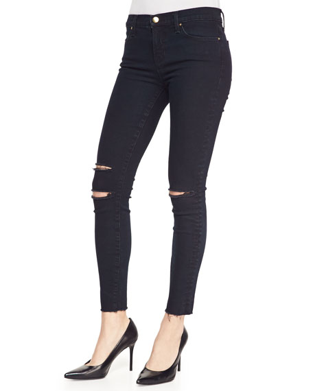 Cropped Destroyed Skinny Jeans, Blue Mercy