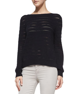 J Brand Jeans Ossie Sheer-Stripe Knit Sweater