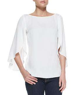 Milly Butterfly Sleeve Boat-Neck Top