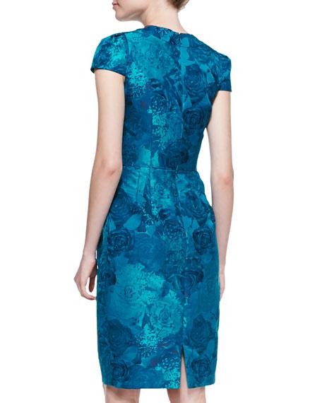 Short-Sleeve Floral Jacquard Sheath Dress