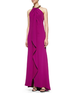 Carmen Marc Valvo Halter Beaded-Neck  Gown, Violet