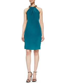 Carmen Marc Valvo Halter Beaded-Neck Cocktail Dress, Teal