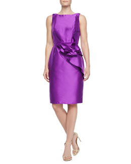 Carmen Marc Valvo Ruffled-Peplum Cocktail Sheath Dress