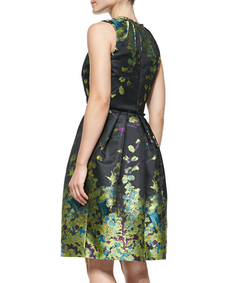 Sleeveless Floral-Print Cocktail Dress, Chartreuse