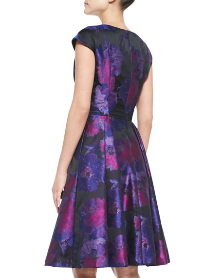 Cap-Sleeve Floral Cocktail Dress