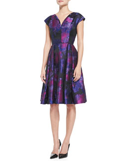 Carmen Marc Valvo Cap-Sleeve Floral Cocktail Dress