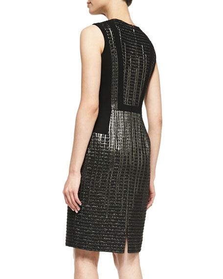 Sleeveless Metallic-Textured Cocktail Dress