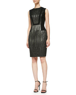 Carmen Marc Valvo Sleeveless Metallic-Textured Cocktail Dress