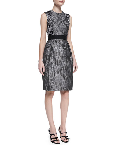 Sleeveless Brocade Cocktail Dress