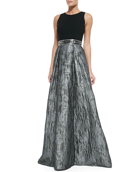 Sleeveless Sequined Belted Ball Gown