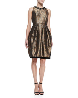 Carmen Marc Valvo Sleeveless Beaded-Neck Cocktail Dress