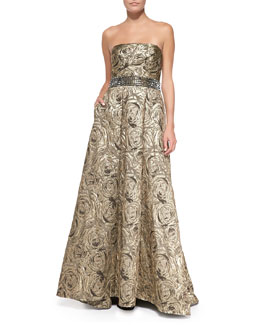 Carmen Marc Valvo Strapless Jacquard Ball Gown, Burnished Gold