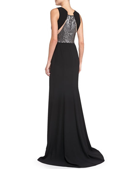 Sleeveless Sequined Waist & Back Gown