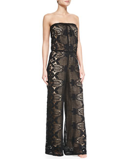 Miguelina Piper Strapless Lace Jumpsuit Coverup