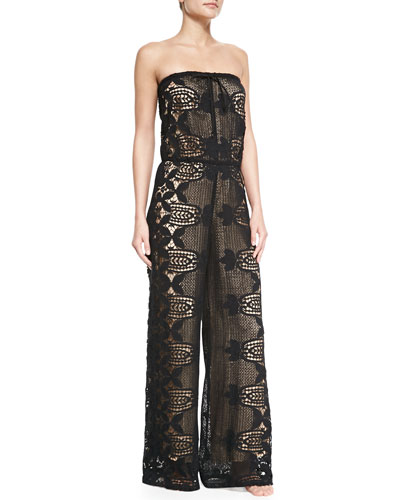 Piper Strapless Lace Jumpsuit Coverup