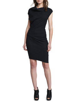 Helmut Lang Ruched-Side Crepe Dress