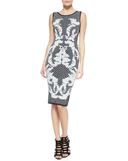 Herve Leger Printed Jacquard Sheath Dress