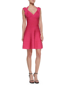 Herve Leger Double-Strap Fit-and-Flare Bandage Dress