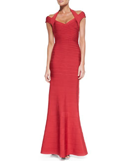 Herve Leger Double-Strap Deep V-Neck Bandage Gown