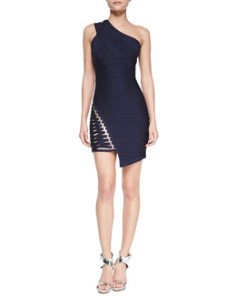 Herve Leger One-Shoulder Asymmetric Bandage Dress