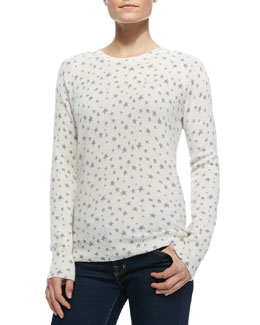 Equipment Sloane Crewneck Cashmere Star-Print Sweater