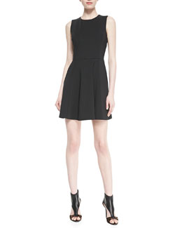 Theory Tillora Techno-Jersey Sleeveless Flared Dress