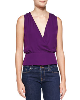 Theory Camara Surplice Sleeveless Silk Blouse