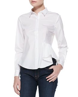 Theory Biaz Ruffle-Side Poplin Blouse