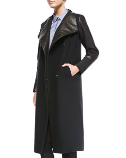 Theory Tin Leather-Sleeve Button Coat